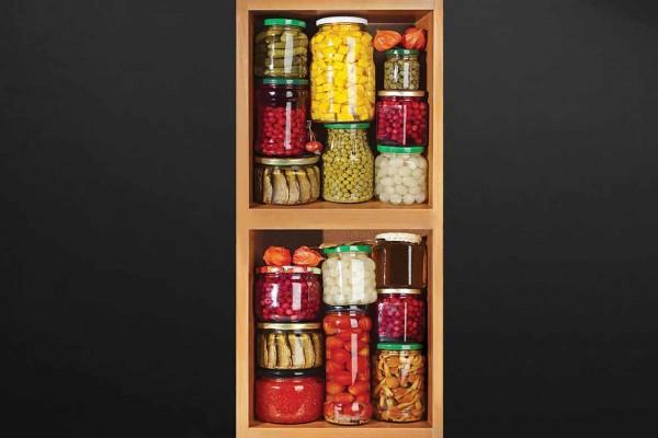 sticker porte cuisine pots bocaux izoa. Black Bedroom Furniture Sets. Home Design Ideas