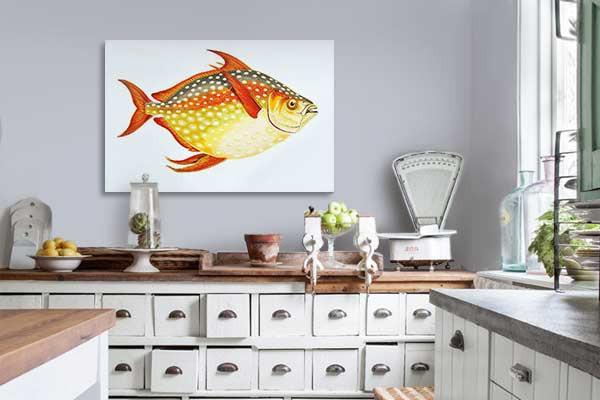 toile d co cuisine poisson lune izoa. Black Bedroom Furniture Sets. Home Design Ideas