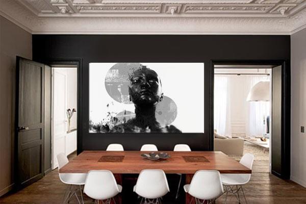 tableau design contemporain black and white izoa. Black Bedroom Furniture Sets. Home Design Ideas