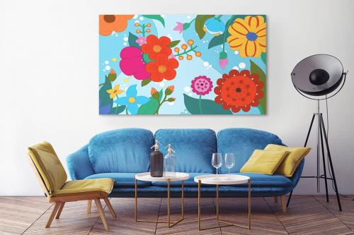 Tableau design feerie scandinave bleu