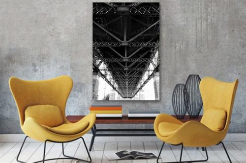 Tableau noir et blanc Pont métallique
