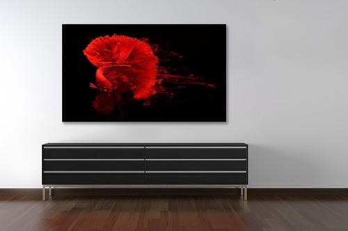 Tableau design poisson encre rouge