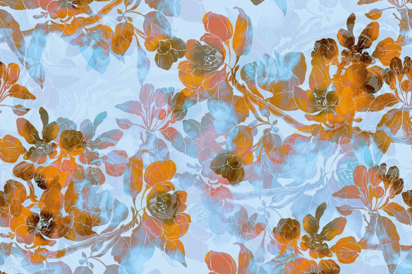 Toile murale fleurs Boho orange