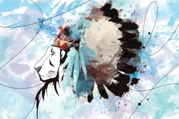 cadre déco Lion Indien bleu ciel