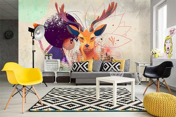 papier peint scandinave t te de cerf izoa. Black Bedroom Furniture Sets. Home Design Ideas