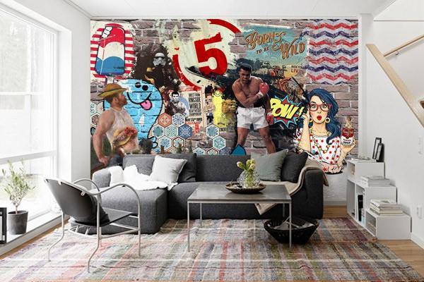 papier peint pop art pow izoa. Black Bedroom Furniture Sets. Home Design Ideas