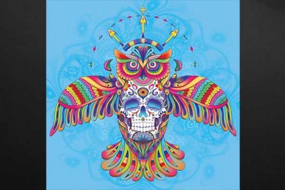 Hibou aztèque bleu ciel