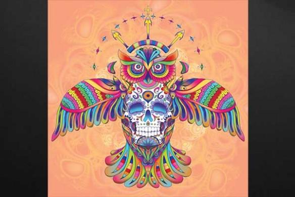Hibou aztèque orange
