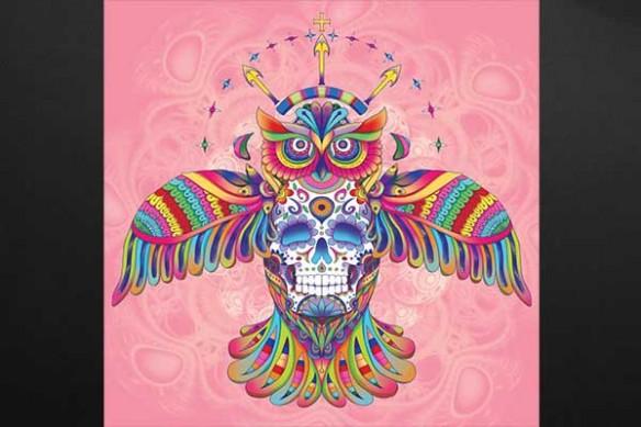 Hibou aztèque rose