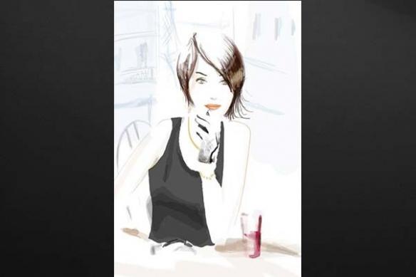 femme Parisienne sirotant un verre