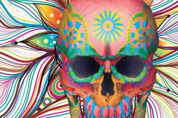 Calavera fête des morts déco toile crane mexicain contemporain