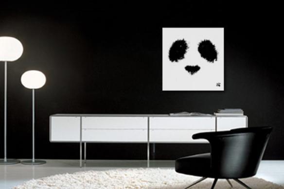 Tableau déco Panda tâches d'encre