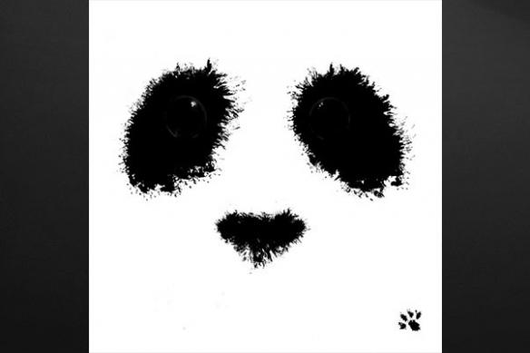 toile déco tache encre chine panda
