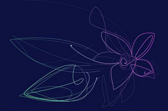 Tableau grand format Fleur de Vanille bleu