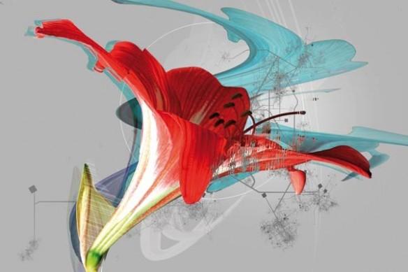 grand Tableau fleur lilium trompette