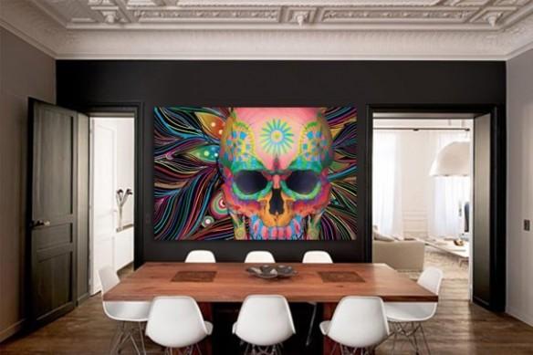 Tableau Grand format Crâne Mexicain par Dogan Oztel