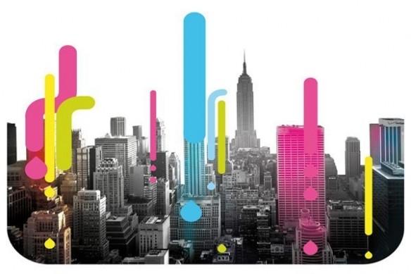 New York CYMK poster mural géant