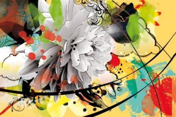 décor mur fleur d'été