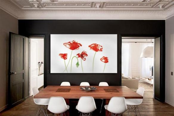 Tableau grand format Fleurs rouges