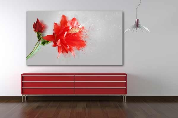 Tableau fleur amaryllis rouge by marion lechat izoa for Tableau noir et rose