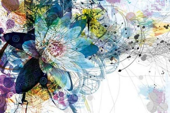 Tableau design mauve fleur déco