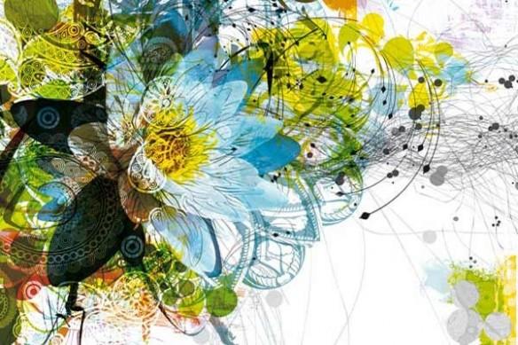 Tableau déco Fleur design bleu