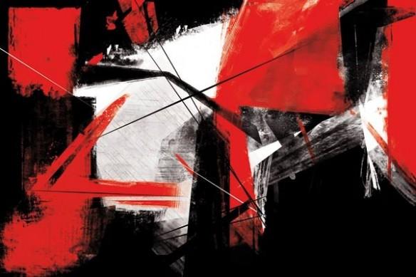 tableau abstrait design coups de pinceaux
