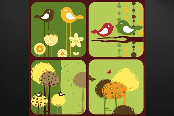 Tableau pour enfant oiseaux izoa - Tableau pour enfant ...