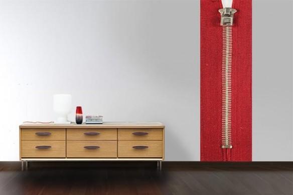 Papier peint design Zip rouge