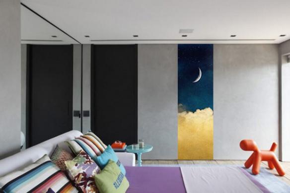 Papier peint rétro Pierrot et la Lune