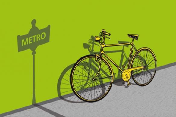 Tableau contemporain vélo métro