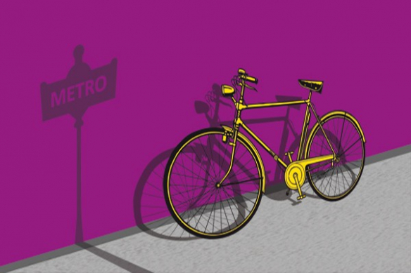 Tableau vintage vélo métro