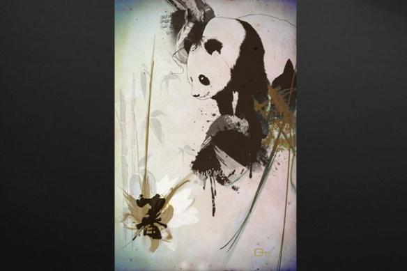 Panda mural deco marron