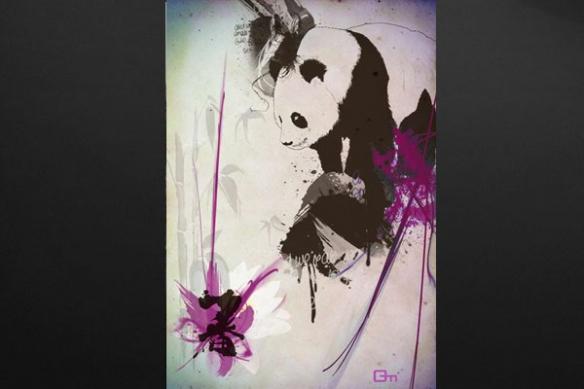 toile deco Panda violet
