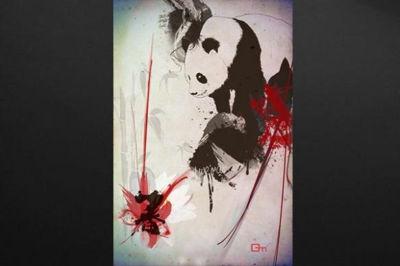 decoration chambre rouge Tableau Panda