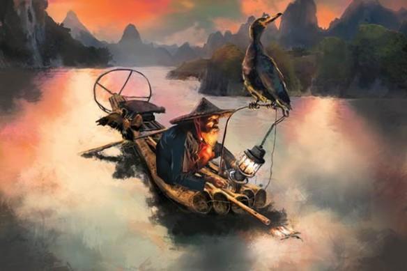 pêcheur cormoran peinture design