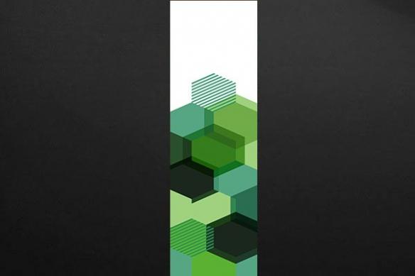 Papier peint graphique hexagone