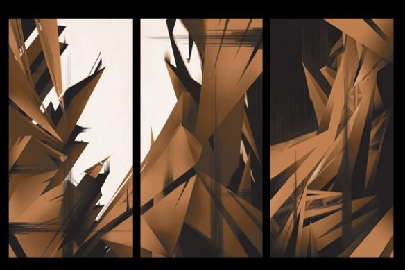 Tableau abstrait CrysWay marron