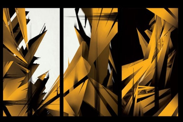 Tableau triptyque mural CrysWay jaune