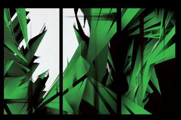 contemporain mural Tableau triptyque abstrait CrysWay vert