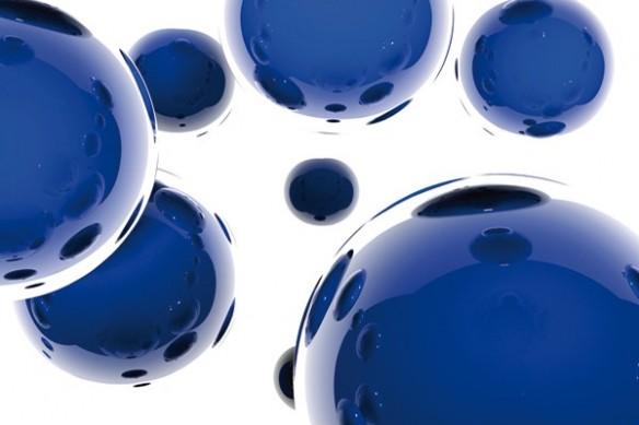 Papier peint Abstrait Sphères bleu