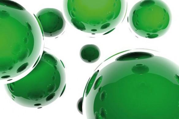 Papier peint Abstrait Sphères vert