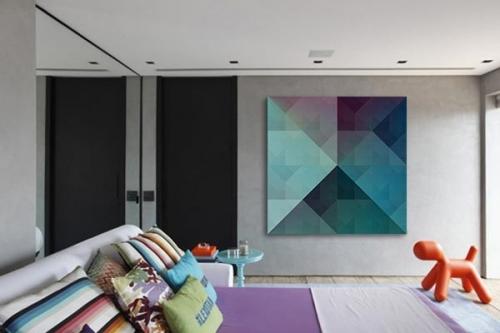Tableau abstrait design Chromatic bleu ciel