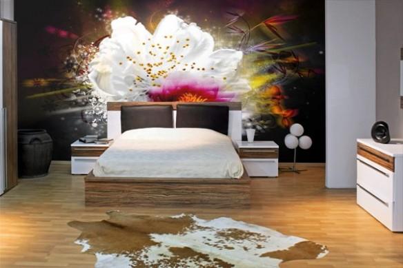 composition floral décoration mural  fleurs de lumière