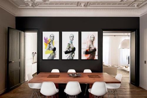 d coration murale avec un tableau triptyque moderne izoa. Black Bedroom Furniture Sets. Home Design Ideas