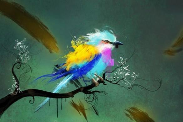 Papier Peint  déco oiseau par d. Seppoloni