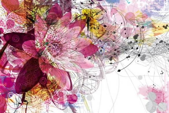 Papier peint déco Fleur Ethnique rose