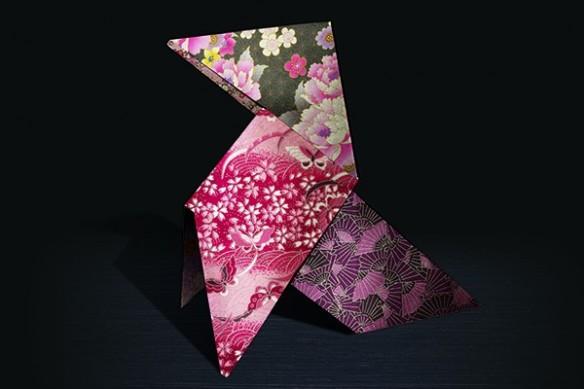tableau decoratif design mural fleur japonaise estampe Pliage cocotte