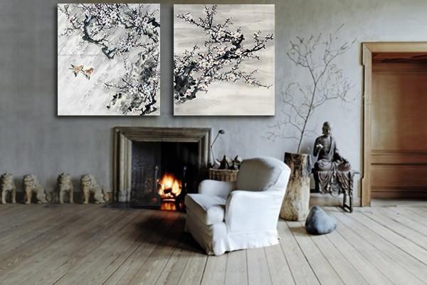 tableau contemporain diptyque floraison izoa. Black Bedroom Furniture Sets. Home Design Ideas