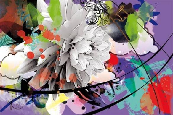 Papier peint trompe oeil violet